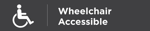 Grey background with a white wheelchair user symbol